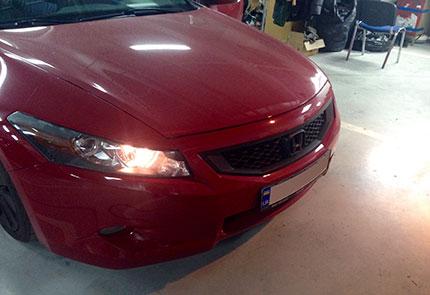 Установка ксенона на автомобиль Honda Accord 2008 + шумоизоляция задней полки