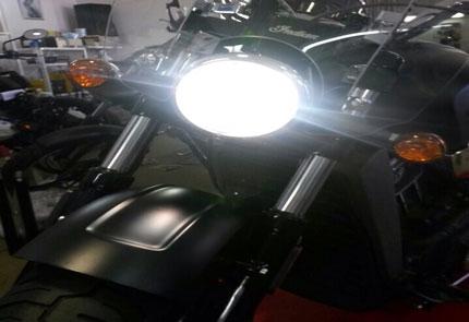 Замена галогенной лампы ближнего и дальнего света на Led в мотоцикле Indian