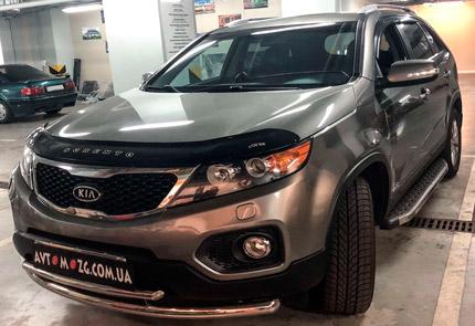 Замена штатной магнитолы, передней и задней акустики, установка переднего парктроника, камеры переднего вида на Kia Sorento