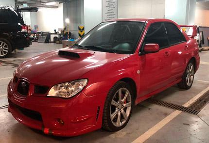 Установка 1 DIN магнитолы, сабвуфера, усилителя в автомобиль Subaru Impreza 2008